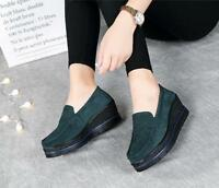 Women Comfort Wedge Penny Loafers Platform Suede Leather Slip-on Moccasins Shoes