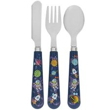 3pc Spaceman Design Childrens Plastic Spoon Fork Knife Kids Mealtime Cutlery Set