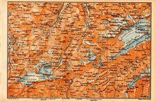 Carta geografica antica Old Map SVIZZERA ghiacciaio Kandersteg Berna 1905