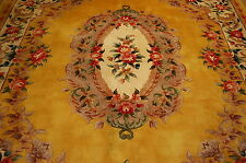 MINT YELLOW ART DECO CHINESE RUG 8x10 DETAILED SCULPTED DESIGN_ROOM SIZE BEAUTY