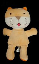 Doudou Peluche Chat Tigre Ours SUCRE D'ORGE Orange Blanc Langue rouge