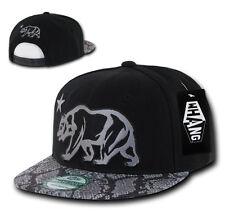 California Republic SNAKE SKIN SNAPBACK Hat vtg CALI BEAR Flat Bill Cap animal