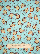 Love Monkey Aqua 100% Cotton Fabric Toss C2178 Timeless Treasures By The Yard