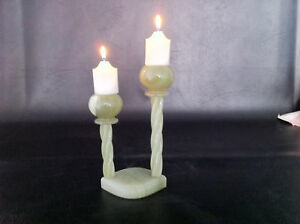 """MARBLE ONYX  GREEN CANDLE HOLDER STAND - 8"""" X 4"""""""