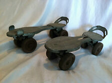 VINTAGE COLLECTIBLE-STEEL STRAP-ON ROLLER SKATES NICE PATINA & COLLECTIBLE