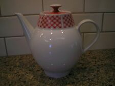 Kahla Porcelain Coffee / Tea Pot White and Red Germany Retro Vintage Mid-Century