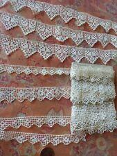 7 wide FILET NET Cotton vintage Lace Trim bobbin  7+ yards lot
