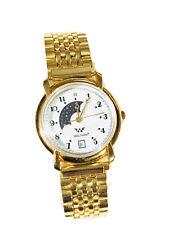 Vintage Waltham Moon Phase Quartz GoldTone Wrist Watch NOS(1256M)