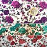Floral PolyCotton Fabric Med Size Rose With Grey Highlights 3 colours Per Metre