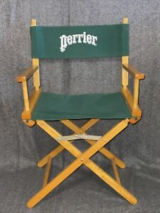 Vintage Commander Directors Folding Chair (PERRIER)  Green Canvas Wood Frame