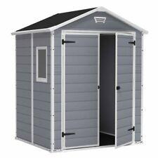 Keter Manor Plastic Garden Shed 6 x 5ft Lockable Double Doors 15 Year Guarantee