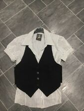 ATMOSPHERE SIZE 18  BLACK & WHITE SHIRT & BLACK WAISTCOAT STRETCH TOP IN 1 BNWTS