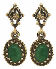 Ladies Antique Victorian 14K 585 Yellow Gold Jade Oval Drop Dangle Earrings