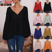 Women's Ruffle Long Puff Sleeve Shirt Ladies Casual Pullover Jumper Tops Blouse