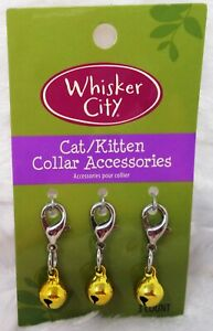 WHISKER CITY Cat Collar Accessories Set of 3 Gold Bells (NEW)