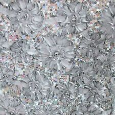 Silver Sequin Taffeta Ribbon rosette Cord 4083 Fabric 58 inches Width By yard