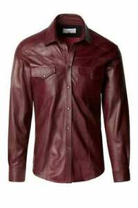 Red Wine Real  Sheepskin Soft & Lightweight Casual Leather Shirt