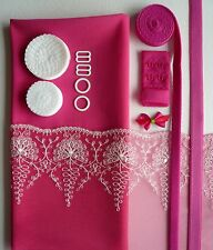 Raspberry Lace Bra Making Kit. Inc Fabric and Notions. Small Sizes