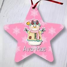 Ornamento del árbol de Navidad Personalizado Decoración-Star-Rosa Muñeco De Nieve
