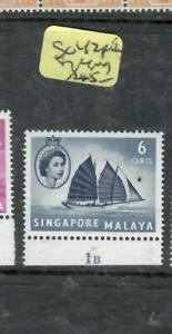 SINGAPORE  (P1109B)  QEII   6C   SG 42      PLATE 1A  SINGLE   MOG