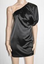 Dotti Designer Black Silky One Shoulder Party Dress Size 6 BNWT #SF88