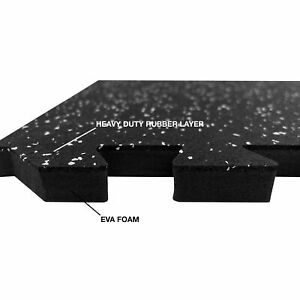 Large 62x62cm Rubber Mat Fitness Puzzle Yoga Garage Gym Home Interlocking Tiles