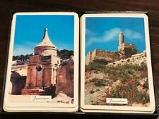 Jerusalem picture Playing Cards 2 full decks plastic case souvenir from Israel