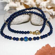 Lapis Lazuli Kette mit synth. Black Opal – 925 Silber vergoldet – blau 45cm 55ct