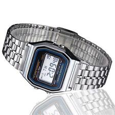 Vintage Womens Mens Stainless Steel LCD Digital Sports Stopwatch Watch Silver #P