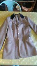 Small adult / teenager tweed type riding hacking hunting jacket blue
