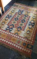 Wool Jute Kilim rust,blue,ochre 120x180cm Quality Hand Made Reversible rug