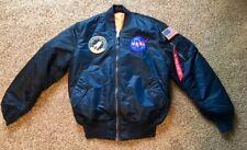 Nasa MA-1 Flight Jacket Blue Replica Apollo 100th Mission w/ Columbia patch