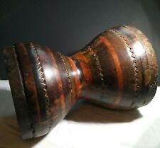 Large Aztec Artifact Polychrome Native Wood Urn Vessel Drum Wooden Ancient Rare