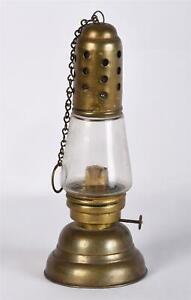RARE Antique Brass Glass Skaters Skating Oil Lamp Lantern Ring Chain Handle