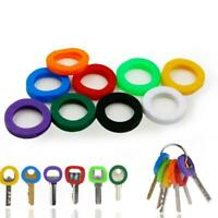 8* Bright Colors Hollow Silicone Key Cap Covers Topper Keyring KeychainNEW R4Q9
