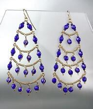 STUNNING Sapphire Blue Crystal Beads Chandelier Dangle Peruvian Earrings B94-8