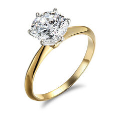 Engagement Ring Round Cut Solitaire Wedding Bridal 14k Yellow Gold Filled