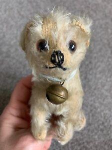 "Antique Vintage MOHAIR STEIFF 4"" MOLLY Type DOG Sitting SWIVEL HEAD CUTE NR"