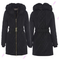 00NEW Size 8 10 12 14 16 Womens PADDED COAT Ladies JACKET Quilted Black Parka