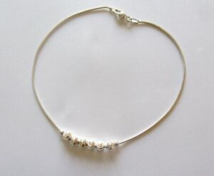 Sterling Silver Anklet- six  round charms in center- 10.25""