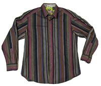 Robert Graham Blue brown gray purple Striped Cotton Shirt Flip Cuff L - XL