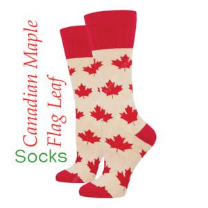 Women's Ladies Outlands Canadian Maple Flag Leaf Socks Socksmith NEW WOB1829-OML