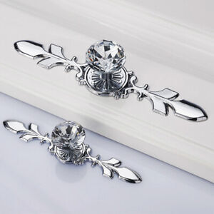 Cabinet Drawer Handles Knobs Crystal Glass Cupboard Pulls Dresser With Plate 1F