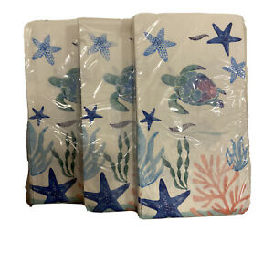Tide pool Turtle Starfish Ocean Paper Guest Towel Napkin Lot of 3 Packages 60 Ct