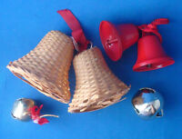 vintage 1970s Christmas Bell ornament collection lot of 6 wicker metal jingle
