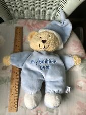 MOTHERCARE BLUE MY BEDTIME BEAR SOFT TOY TEDDY COMFORTER DOUDOU BROWN HEART NOSE