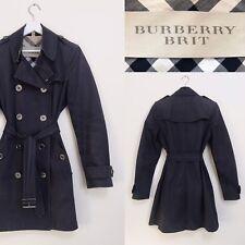 Burberry Brit Trench Coat Navy Blue Classic Mac Raincoat Size S M UK 10