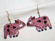 Delightful Pink Spotted Balsa Wood Moo Cow Figural Silvertn PIERCED Earrings +++