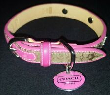 """COACH SIGNATURE HOT PINK GROMMET FLOWERS CHARM DOG COLLAR SizeSmall 11""""-13"""""""