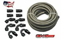 20FT AN6 6AN Stainless Steel  PTFE Fuel Line Black 10 Fittings E85 Ethanol